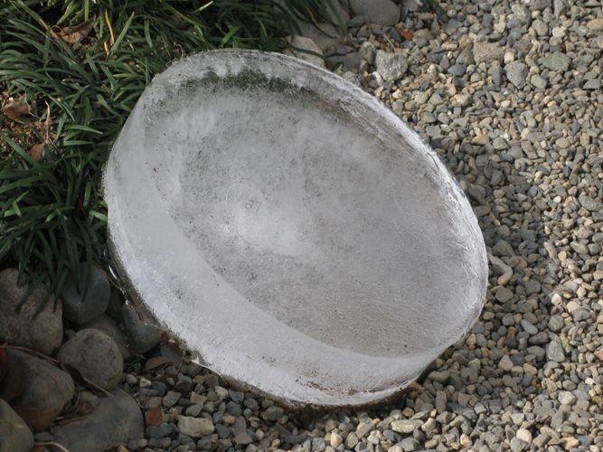 氷点下10度の朝にバケツにできた氷